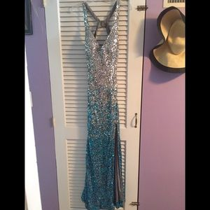 Sean Collection Blue & Silver sequined Prom Dress